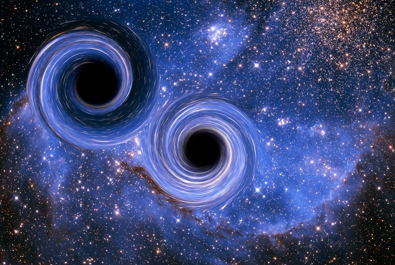 Illustration of the merger of two black holes, a phenomenon that creates gravitational waves